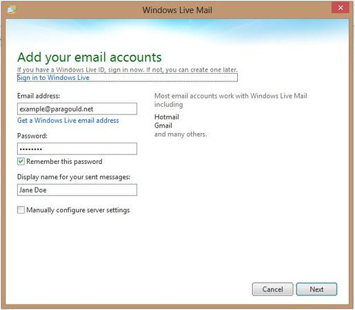 Windows Live Mail add account